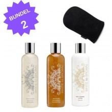 Whitetobrown BUNDEL 2 - Cleanser + Scrub + Self Tan Medium + Deluxe Handschoen